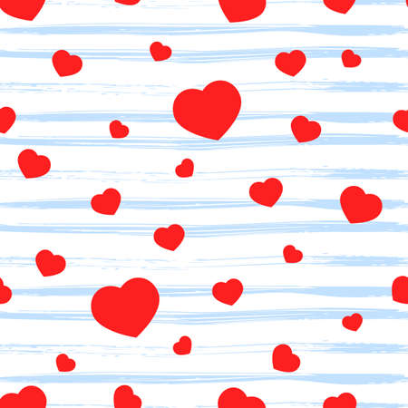 Seamless pattern with red heart, texture blue stripes on white. Valentine s day background. Love concept. For wallpaper, gift box, scrapbooking, clothes fabric textile Vector backdrop.