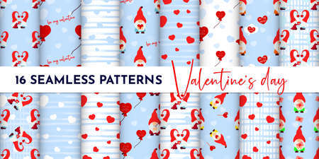 Set of Seamless pattern with gnome couple, heart, texture stripes. Valentines day background. Love concept. For wallpaper, gift box, scrapbooking, clothes fabric textile Vector cute backdrop 免版税图像