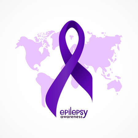 Violet epilepsy awareness ribbon with hand lettering text, silhouette of map. Template for background, poster, print, card, flyer. Health care conncept. Vector typographic banner. 矢量图像