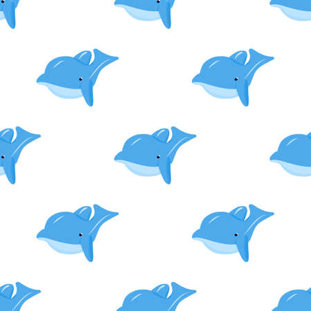 Seamless pattern with blue funny dolphin. Vector background. Baby fabric textile. Summer backdrop. For wrapping, package product, t shirt clothes print. Animal digital paper