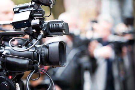 Professional video camera used by journalists