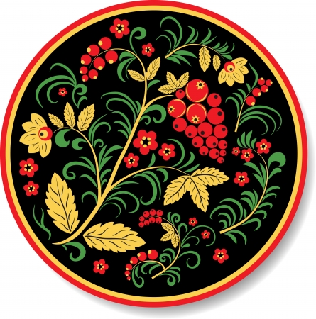 Plate in native russian style Khokhloma