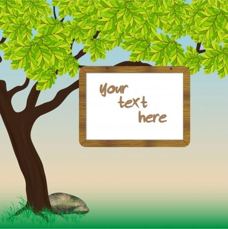 Wooden banner on a oak tree branch Illustration