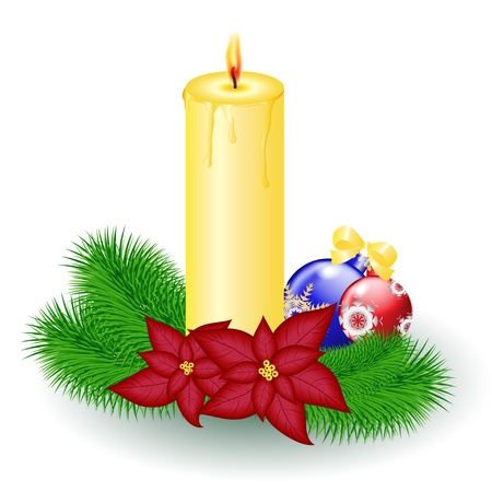 Christmas candle with decorative balls and poinsettia Illustration
