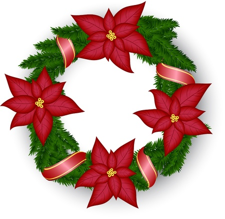 Christmas wreath with poinsettia and red ribbon Illustration