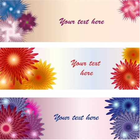 Three floral banners with place for your text Illustration