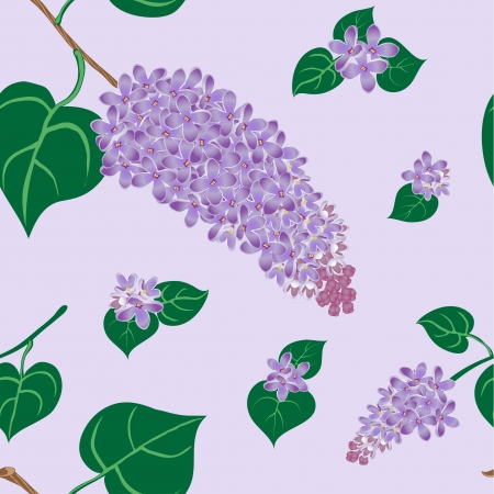 Seamless pattern of lilac flowers and leaves