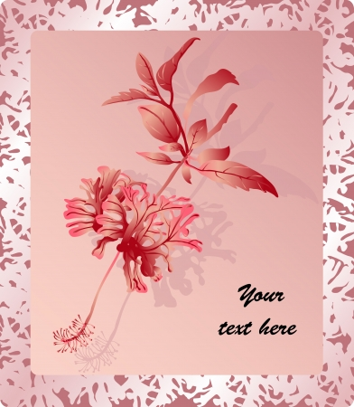 Romantic greeting card with beautiful double-flowering flower