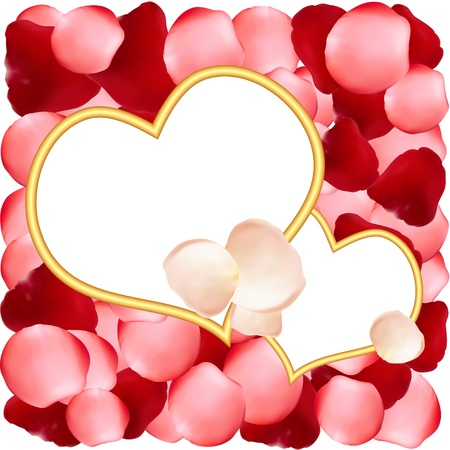Heart-shaped frames on romantic background of rose petals