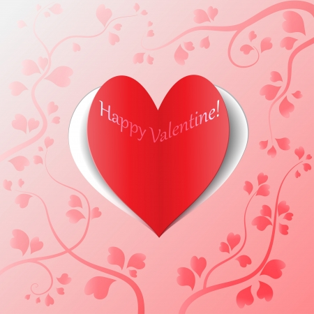 Red heart of paper with pink floral  romantic background