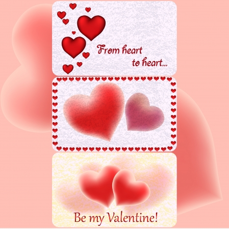 Three Valentine s greeting cards with hearts and cute background
