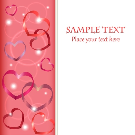 Vertical border with heart shaped symbols and place for your text
