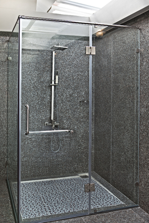 Glass shower cabin Stock Photo