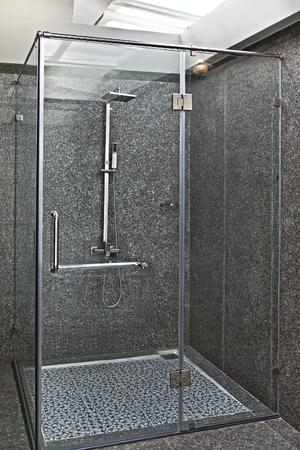 large doors: Glass shower cabin Stock Photo