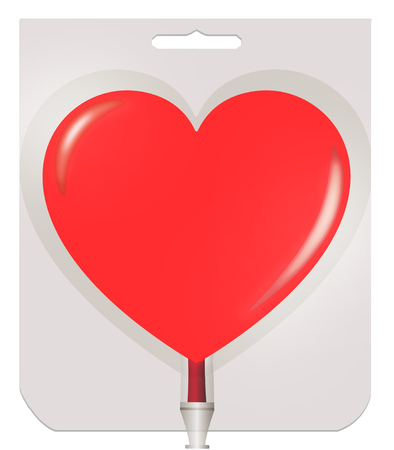 The plastic container for blood in the heart shape on white background.