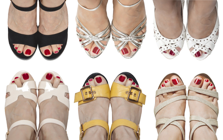 Six pairs of feet in sandals. Problem of choice.