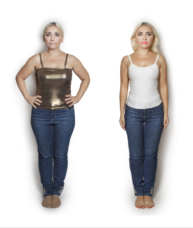 Portrait of a woman before and after diet. Weight loss. Imagens