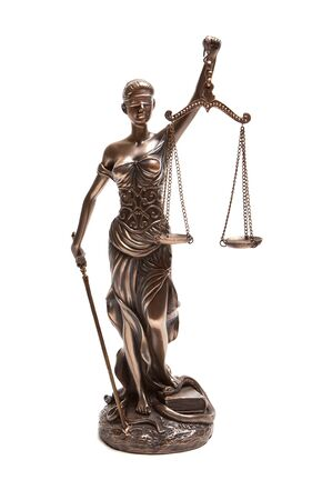 Themis-the goddess of justice, on a white background.