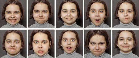 A teenage girl expressing emotions on a dark background.