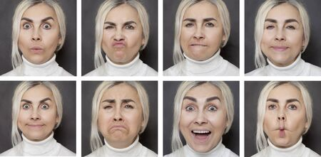 A woman expressing emotions. Collage of portraits on a dark background. 免版税图像