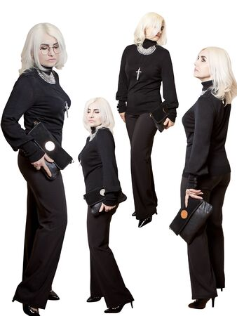 A woman with a clutch in a black turtleneck and trousers. Four camera angles. Collage Imagens