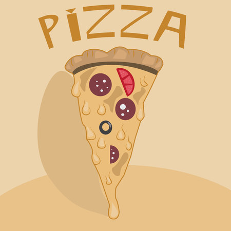 dark olive: Vector poster of a slice of pizza, cartoon style fantasy.
