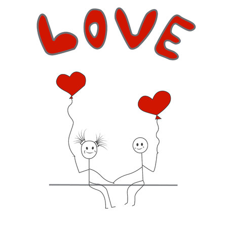 Stick figure man and woman with balloons, love.Eps10.