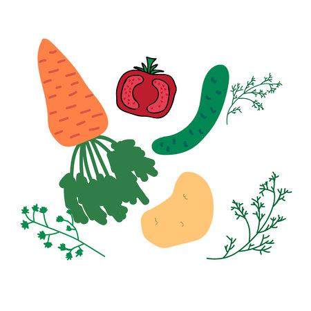 Vector set of vegetables.Eps10.