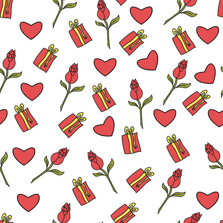 Vector Seamless Pattern. Rose, a gift. Hand drawing.Eps10.