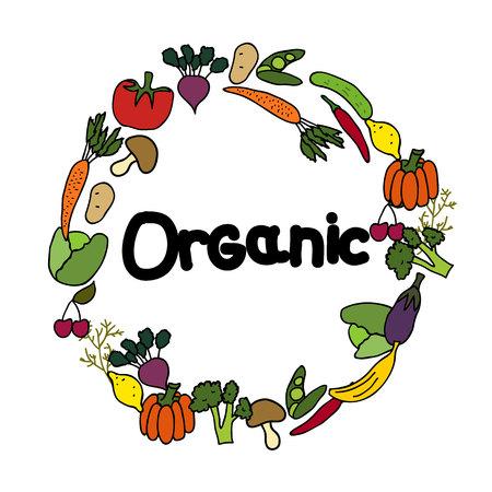 A Vector background Organic vegetables. Illustration