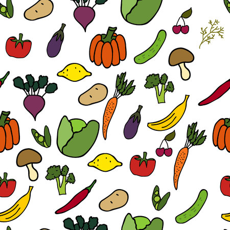 Vegetables and fruits vector seamless pattern.