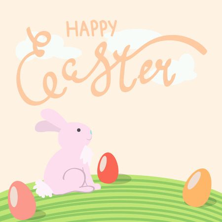 Vector postcard to Easter with rabbit and egg on light background.