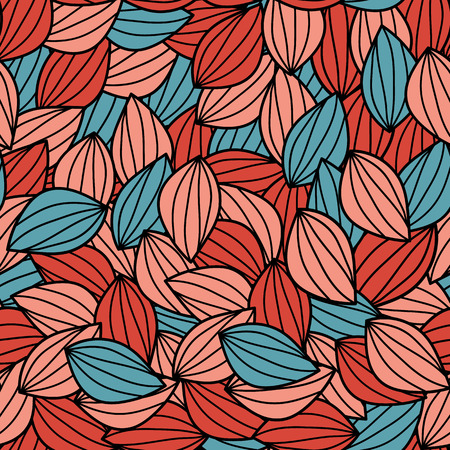 Ultraviolet and coral color. Leaves. Vector seamless pattern. Abstraction. Eps10.