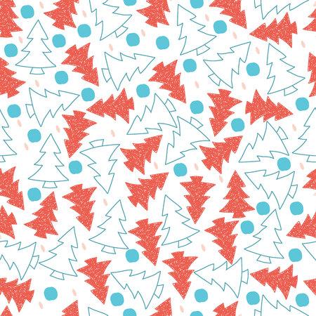 Coral, ultraviolet sketch. Doodle. Christmas trees. Vector seamless pattern. Ilustração