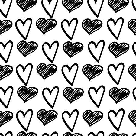 Black sketches of hearts. Doodle Valentines Day. Vector seamless pattern.Eps10. Ilustração