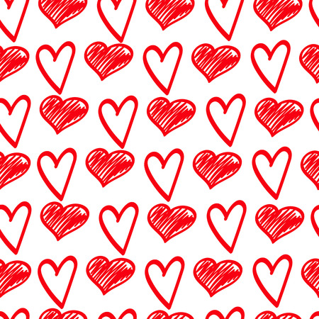Red sketches of hearts. Doodle Valentines Day. Vector seamless pattern.Eps10.