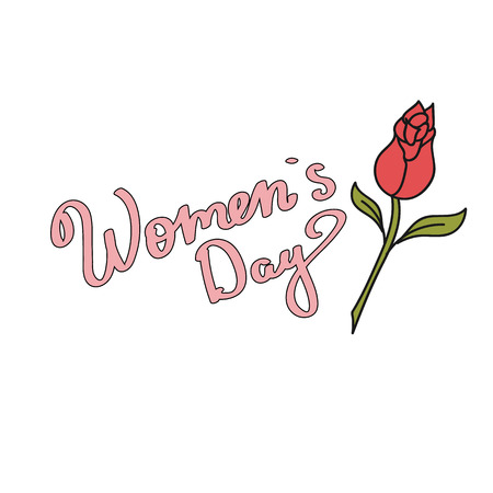 Womens Day. Red Rose. Cartoon, drawn style.Eps10.