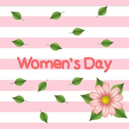 Womens Day. Postcard. Background. Pink stripes. Pink flower. Handwritten text.Eps10.