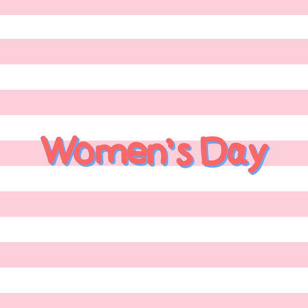 Womens Day. Postcard. Background. Pink stripes. Handwritten text.Eps10. Ilustração