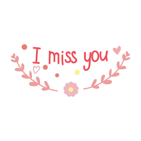 I miss you. Branches. A circle. Hearts. Valentines day card.Eps10.