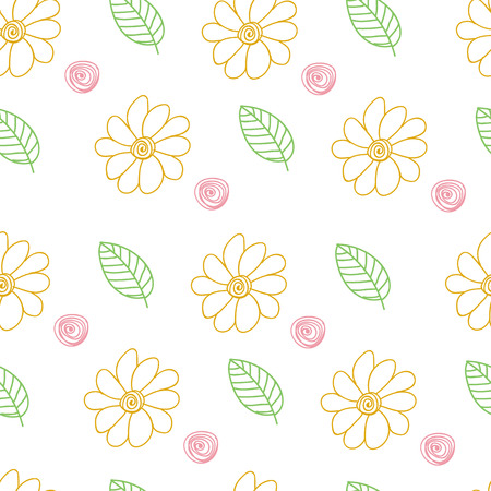 Sketch. Spring. Outline drawing, vector seamless pattern. Leaves, flowers. Ornament. Texture. Scandinavian style. Eps10.