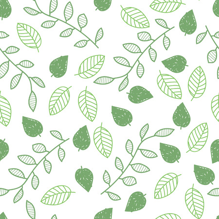 Sketch. Spring. Leaves, branches Ornament. Texture. Outline drawing, vector seamless pattern.Eps10.