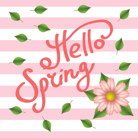 Hello spring. Flower. Green leaves. The inscription. Lettering on a background with pink stripes.