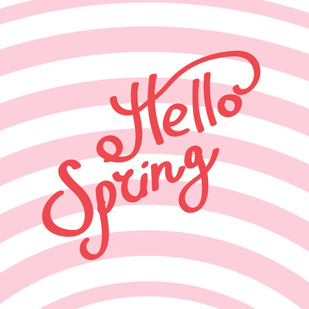 Hello spring. The inscription. Lettering on a background with pink stripes.