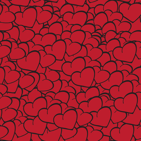 A lot of red hearts. Drawn hearts. Valentines Day. Vector seamless pattern.Eps10. Ilustração