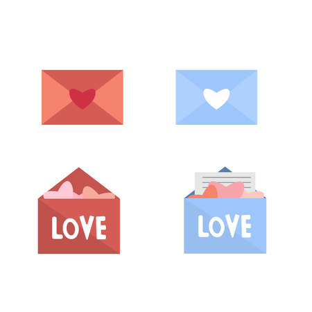A set of envelopes with love letters. Valentines Day. Flat style.Eps10.
