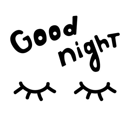 Closed eyes. Good night. Black Design element. Vector element. Eps10. Ilustração