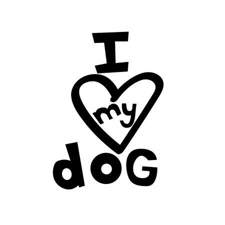 I love my dog. Heart. Black Design element. Vector element.Eps10. Ilustração
