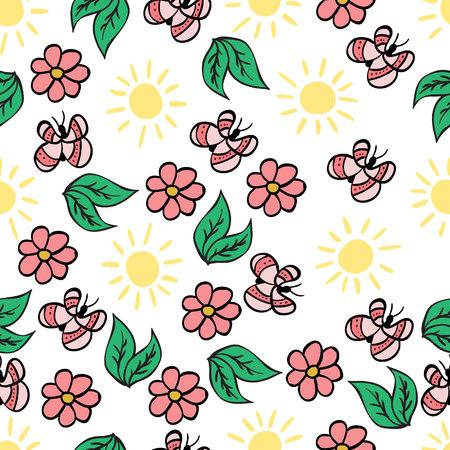 Butterfly, flower, sun, leaves. Summer, spring. Warm season. Vector seamless pattern. Eps10.