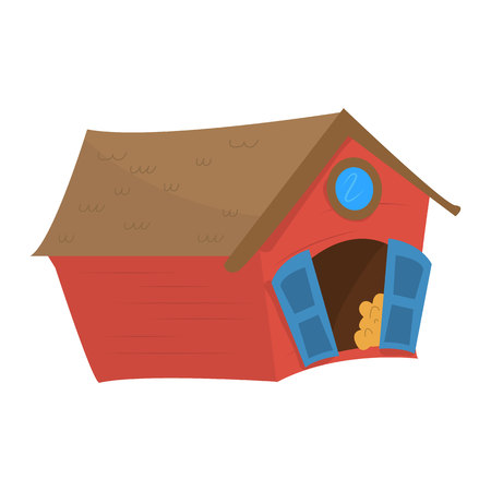 Shed on the farm. Wooden red shed for animals. Vector isolated barn on a farm. Ilustração